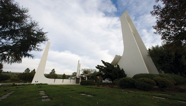 The eye-catching architectural spires at Memorial Chapel reach 90 feet into the sky at Rose Hills Memorial Park & Mortuary.