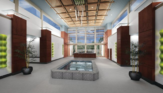 The lobby of Hua Yuan Ceremonial Complex at Rose Hills showcases the elements of water, sun and air.