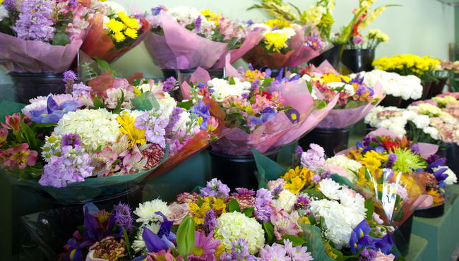Colorful bouquets for purchase at The Flower Shop at Rose Hills Memorial Park & Mortuary.
