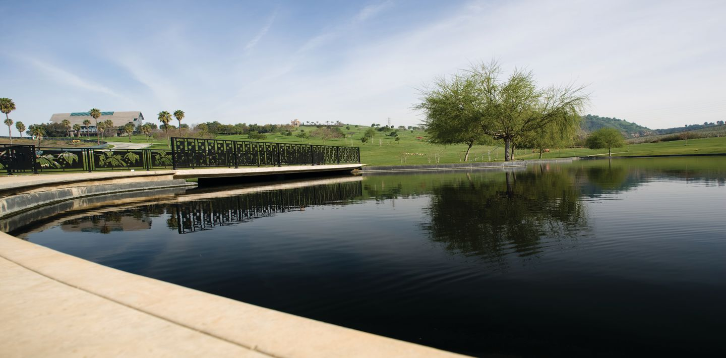 One of the many water-side views of the expansive Rose Hills Memorial Park.