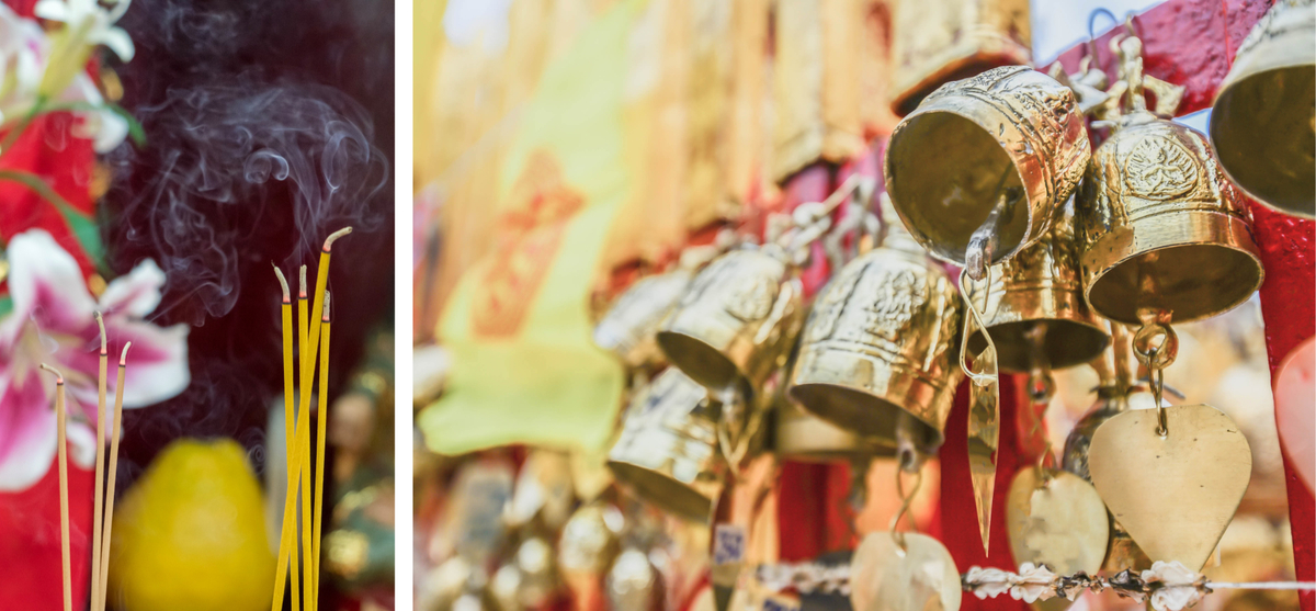 Burning incense and intricately designed bells create a collage of Vietnamese traditions.